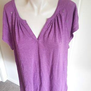 CALVIN KLEIN Jeans purple Tshirt size S summer short sleeves Tee Vneck light